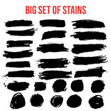 Set of black paint artistic creative brush elements. Royalty Free Stock Photo
