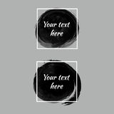Set of black paint ink brush circles. Grunge artistic banners royalty free illustration