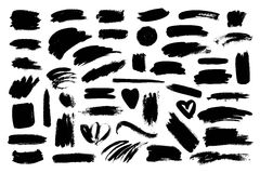 Set of black paint, ink brush strokes. Artistic design elements, brushes. Stock Image