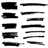 Set of black paint, ink brush strokes, brushes, lines. Royalty Free Stock Photo