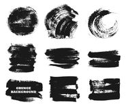 Set of black paint, ink brush strokes, brushes, lines,circles. Dirty artistic design elements, boxes, frames for text. Set of black paint, ink brush strokes Stock Images