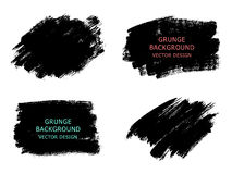 Set of black paint, ink brush strokes, brushes, lines. Dirty art. Istic design elements, boxes, frames for text.  Vector Royalty Free Stock Photos
