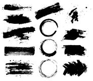 Set of black paint, ink brush strokes, brushes, lines. Dirty artistic design elements, boxes, frames for text. Stock Photography