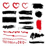 Set of black paint, ink brush strokes, brushes, lines. Dirty artistic design elements, boxes, frames for text. Stock Images