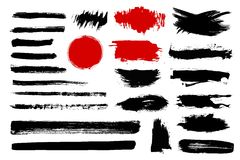Set of black paint, ink brush strokes, brushes, lines. Dirty artistic design elements, boxes, frames for text Stock Images