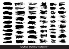 Set of black paint, ink brush strokes, brushes, lines. Dirty artistic design elements, boxes, frames for text. Vector illustration. Set of black paint, ink brush Royalty Free Stock Image