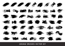 Set of black paint, ink brush strokes, brushes, lines. Dirty artistic design elements, boxes, frames for text. Vector illustration royalty free illustration