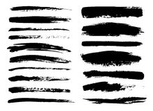 Set of black paint, ink brush strokes, brushes, lines. Dirty artistic design elements. Stock Photos
