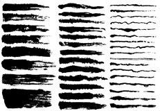 Set of black paint, ink brush strokes Stock Photography