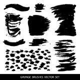Set of black paint, ink brush strokes. Royalty Free Stock Photography