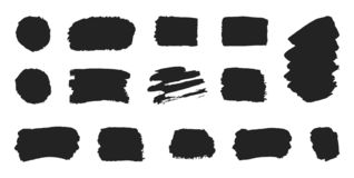Set black paint, ink brush strokes on white background. Grunge collection line or texture. Paintbrush design elements. Dirty textu stock illustration