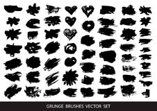 Set of black paint, ink brush strokeSet of black paint, ink brush strokes, brushes, lines. Dirty artistic design elements, boxes,. Set of black paint, ink brush royalty free illustration