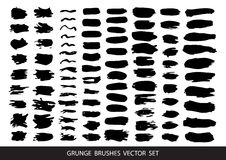 Set of black paint, ink, grunge, dirty brush strokes.Vector. Royalty Free Stock Photography