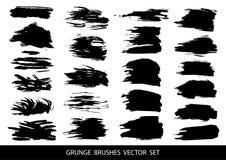 Set of black paint, ink, grunge, dirty brush strokes. Vector illustration. stock illustration