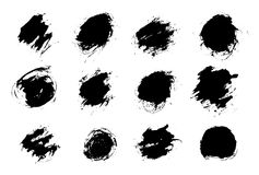 Set black paint, ink splash, brushes ink droplets, blots. Black ink splatter grunge background, isolated on white. royalty free illustration