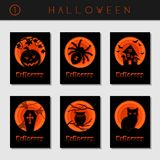 Set of black paper cut halloween cards Stock Photography