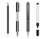 Set of black pens, pencil and marker Royalty Free Stock Photos