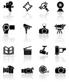 Set of black photo-video icons. Set of black video and photo icons, illustration Royalty Free Stock Image