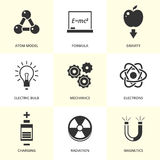 Set of black physics icons. Stock Photos