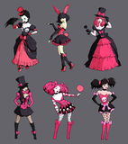 Set of black and pink drawings of six gothic girls Royalty Free Stock Photo