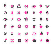 Set of black and pink icons. Royalty Free Stock Photos
