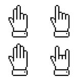 Set of black pixel hand icons. Vector illustration Royalty Free Stock Photo