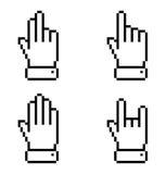 Set of black pixel hand icons. Vector illustration vector illustration