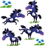 Set of black pony on the white background Stock Photography