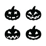 Set black pumpkins for Halloween isolated on white background. Pumpkin face, halloween party concept. Set black pumpkins for Halloween isolated on white royalty free illustration