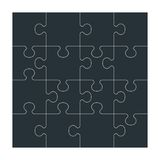Set of black puzzle Royalty Free Stock Photos
