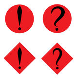 Set of black question and exclamation marks in red circle and square. Vector icon. Flat design style Royalty Free Stock Image