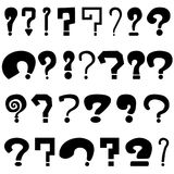 Set of black question marks. On white background Stock Photo