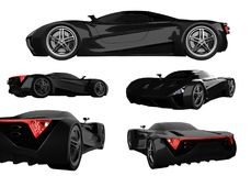 Set black racing concept car. Image of a car on a white isolated background. 3d rendering. Set black racing concept car. Image of a car on a white isolated Stock Images