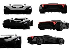 Set black racing concept car. Image of a car on a white isolated background. 3d rendering. Set black racing concept car. Image of a car on a white isolated Stock Photos