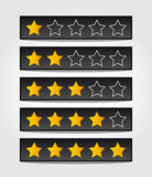 Set of black rating stars Stock Images
