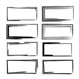 Set of black rectangle empy grunge frames.  Vector illustration. Set of black square grunge frames. Collection of geometric empty borders.  Vector illustration Royalty Free Stock Photos