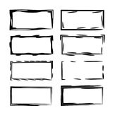 Set of black rectangle empy grunge frames.  Vector illustration. Set of rectangle grunge frames. Collection of geometric empty borders. Template for graphic Stock Image