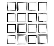 Set of black rectangle empy grunge frames.  Vector illustration. Set of black square grunge frames. Collection of geometric empty borders.  Vector illustration Stock Photo