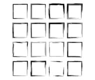 Set of black rectangle empy grunge frames. Vector illustration. Set of black square grunge frames. Collection of geometric empty borders. Vector illustration stock illustration