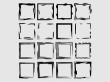 Set of black rectangle empy grunge frames. Vector illustration. Set of black square grunge frames. Geometric empty borders isolated. Vector illustration stock illustration