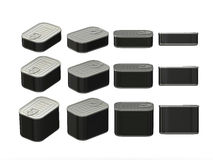Set of black rectangle  tin cans in various sizes, clipping path. Set of black rectangle  tin cans in various sizes . General can  packaging  with black blank Royalty Free Stock Photography
