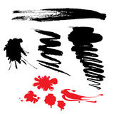 Set of black and red blots Royalty Free Stock Photography