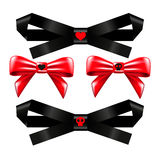 Set of black and Red bows. Stock Images