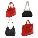 Set of black and red leather female bags Stock Photos