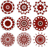 Set of black and red mandalas Royalty Free Stock Photo