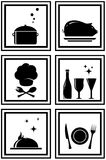 Set black restaurant icons Royalty Free Stock Images