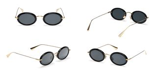 Set Black Retro sunglasses in oval frame isolated on white background. Collection fashion Vintage summer sunglasses royalty free stock image