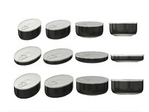 Set of black round bottom oval tin cans in various sizes, clippi Stock Image