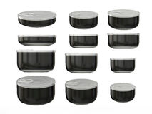 Set of black round bottom tin cans in various sizes, clipping pa. Set of black round bottom tin cans in various sizes . General can  packaging  with black label Stock Images