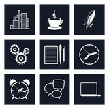 Set of Black Round Business Icons, Team Work. Set of Black Round Business Icons, Office Work, Team Work, Long Hours in the Office, Presentation and Discussion Stock Photo